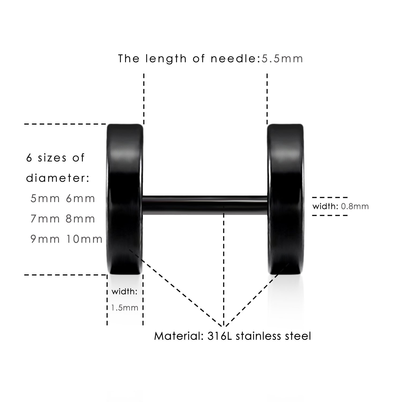 LIEBLICH Black Stud Earrings Men Women Faux Gauges Ear Tunnel Stainless Steel Earrings 6 Pairs 5mm-10mm by LIEBLICH (Image #4)