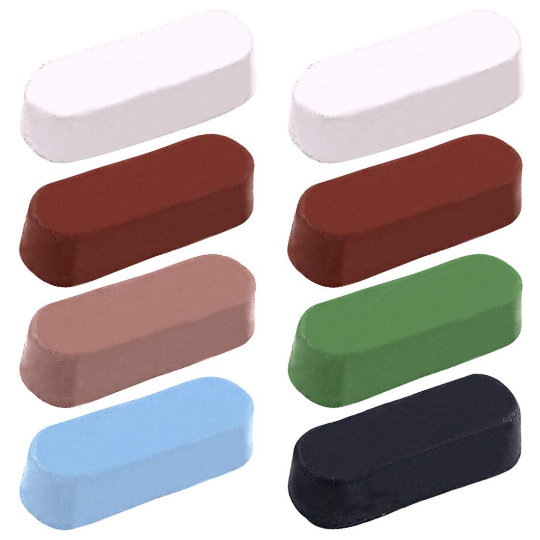 Swpeet 8Pcs Polishing Compound Kit, Including 2Pcs White Diamond, 2Pcs Red Rouge, 1Pcs Black Emery, 1Pcs Brown Tripoli, All Purpose 1Pcs Blue with 1Pcs General Green Compounds for Buffing Polishing