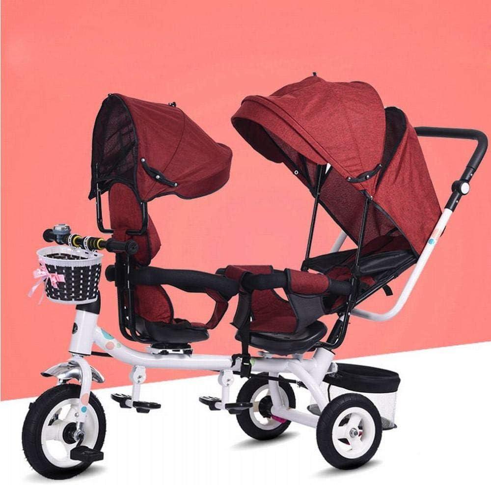 Triciclo gemelo bicicleta de dos plazas para niños cochecito de bebé gemelo cochecito de bebé envejecido,B