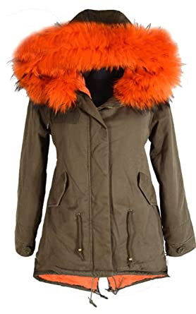 DAMEN WINTER PARKA JACKE FELL KAPUZE MANTEL WARM GEFÜTTERT 36 38 40 42 44 S M L