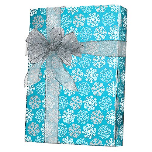 Metallized Blue Silver White Snowflakes Christmas Gift Wrap - 15 Foot Roll Dollar Tree Gift Cards