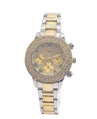 Sheli Womens Small Roman Romans 2 Tone Gold Diamonds Chronograph Decoration Wrist Watch with Day Date