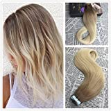 Moresoo Seamless Skin Weft Tape In Hair Extensions Two Tone Ombre Balayage Color Chestnut Brown #6 to Bleach Blonde #613 100% Straight Unprocessed Remi Human Hair 16 inch 50g/20pcs