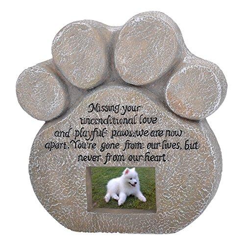 HOUSWEETY Grabschmuck Haustier Gedenkstein Pfotenabdruck Mit einer wasserdichten Rahmen 22cmx20cm