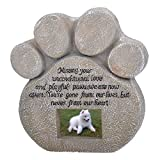 HOUSWEETY Paw Print Pet Memorial Stone Features a Photo Frame and Sympathy Poem Made of Weatherproof Resin Indoor/Outdoor Dog or Cat For Garden Backyard or House