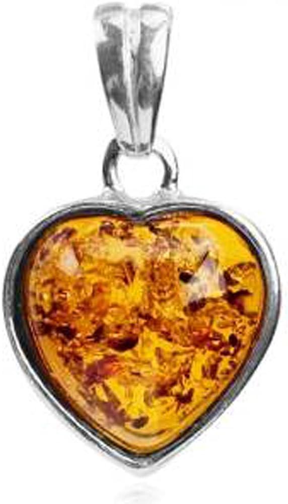 Baltique Multicolore Ambre /& Argent Sterling Fait Main Pendentif en forme de cœur