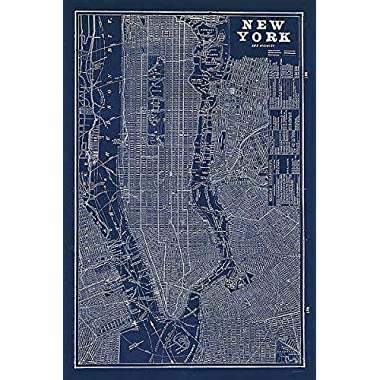 Blueprint Map New York Sue Schlabach United States City Maps Print Poster 24x36