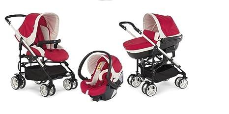 Chicco Trio My City - Sistema de paseo y viaje 3 en 1, capazo/carrito/coche, grupo 0+, color rojo