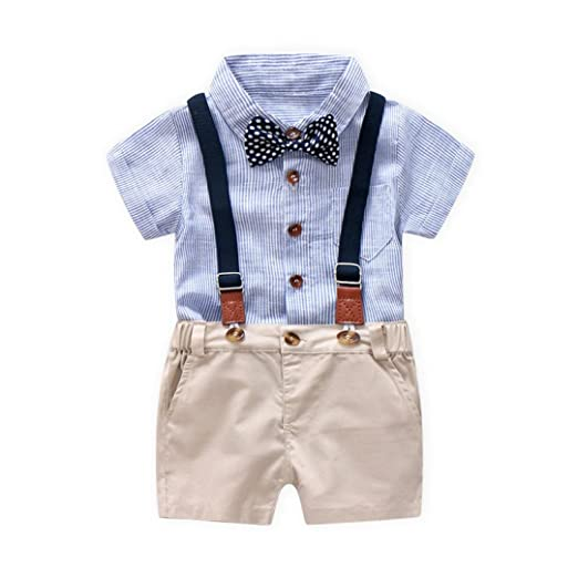 4da277ba5 Image Unavailable. Image not available for. Color: Kstare Baby Boys Outfits  Gentleman Bowtie Short Sleeve Shirt+Suspenders Shorts Clothes Set ...