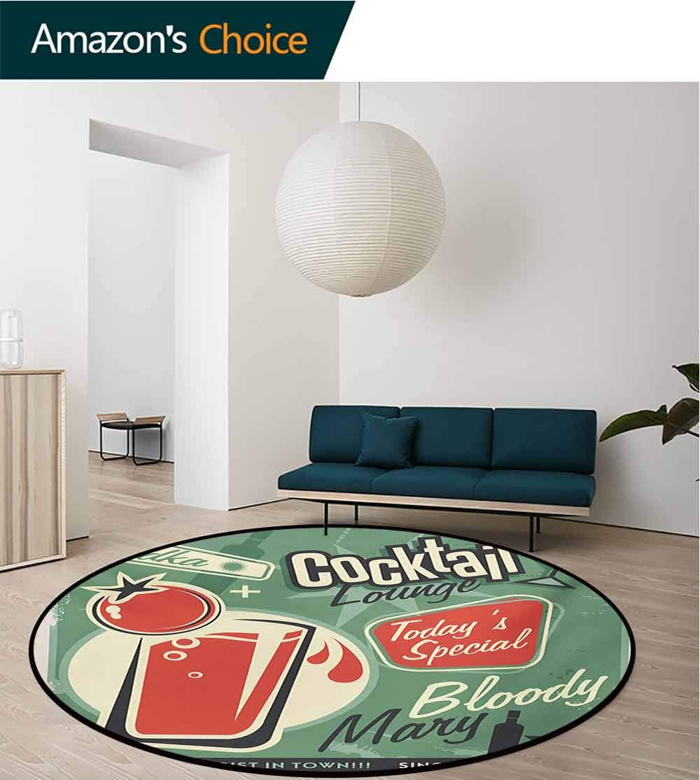 RUGSMAT Retro Super Soft Circle Rugs for Girls,Nostalgic Poster Bar Art for Todays Special Famous Cocktail Bloody Drink and Vodka Circular Area Rugs for Kids Bedroom,Diameter-71 Inch