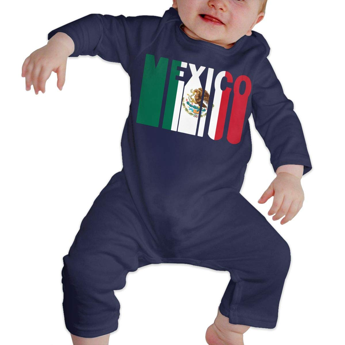 LBJQ8 Retro Mexico Flag Infant Baby Girl Boys Organic Cotton Bodysuit Romper Jumpsuit