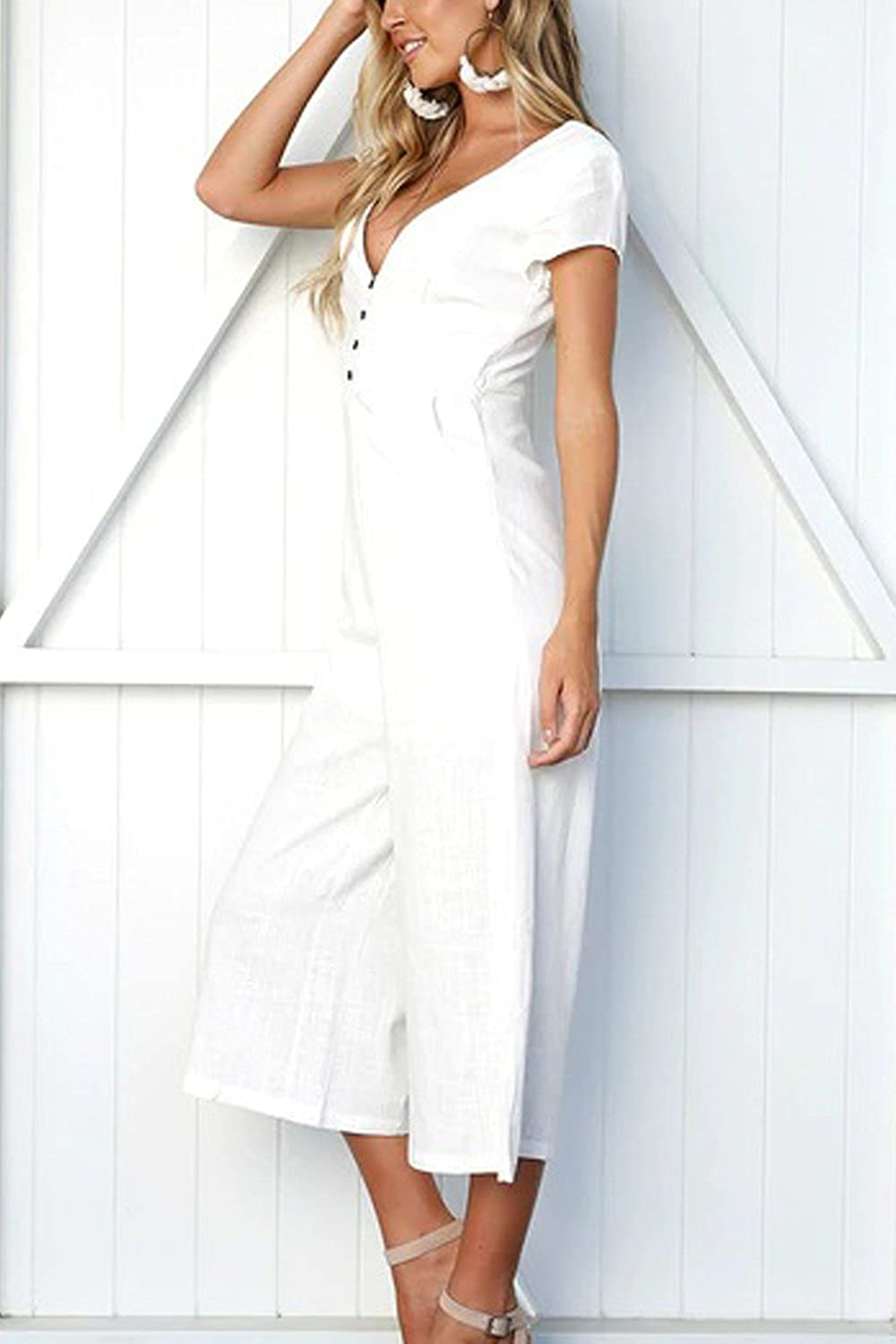 Suvimuga Women Summer Jumpsuits V-Neck Short Sleeve Wide Leg Pants Rompers