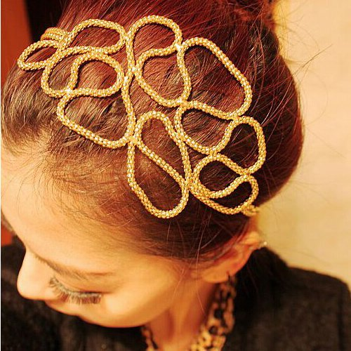 Brendacosmetic Korean Hollow weave Adjustable Headband for dressing Party, Womens Gold Hollow Metallic Braid Turban Headband Hair - Gatsby Malaysia