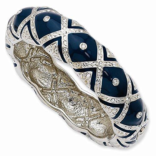 Jacqueline Kennedy Silver-Tone Rhodium-Plated Crystal Blue Enameled Bangle Bracelet - 8 - Kennedy Jacqueline Collection