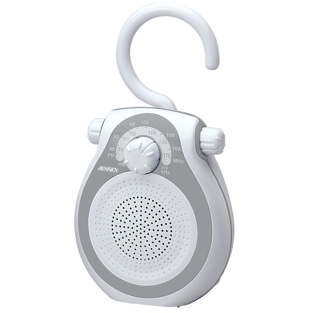 Jensen JWM-120 AM/FM Shower Radio with Splash Resistant Cabinet, Hook Handle and Built In AM/FM Antenna (Discontinued by Manufacturer)