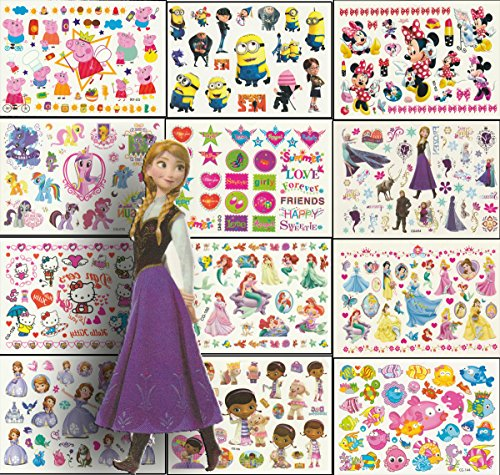 Foxjoy Temporary Tattoos for Kids Premium Edition, 250 Designs, 12 Sheets, 6x4 inches (Girls)
