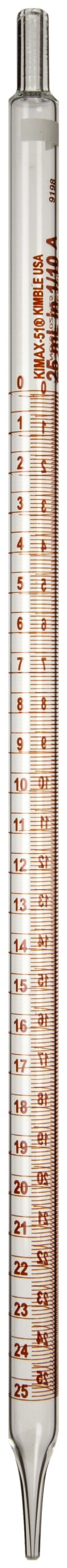 Kimble 37025-25 Glass Serialized and Certified Mohr Style Pipet, 25mL Volume (Case of 6)