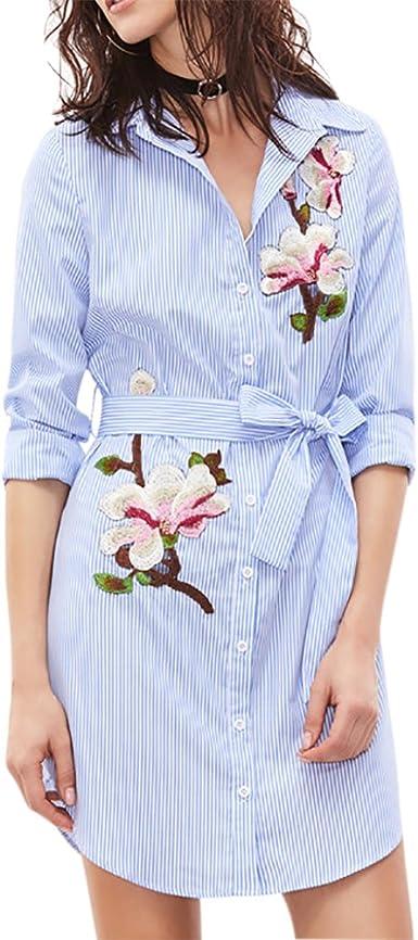 ishine Falda Larga Mujer Faldas Cortas Vestido Casual Bordado Camisa de Vestir de Rayas y largas Secciones: Amazon.es: Ropa y accesorios
