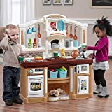 Step2 Fun with Friends Kitchen   Large Plastic Play Kitchen with Realistic Lights & Sounds   Brown Kids Kitchen Playset & 45-Pc Kitchen Accessories Set