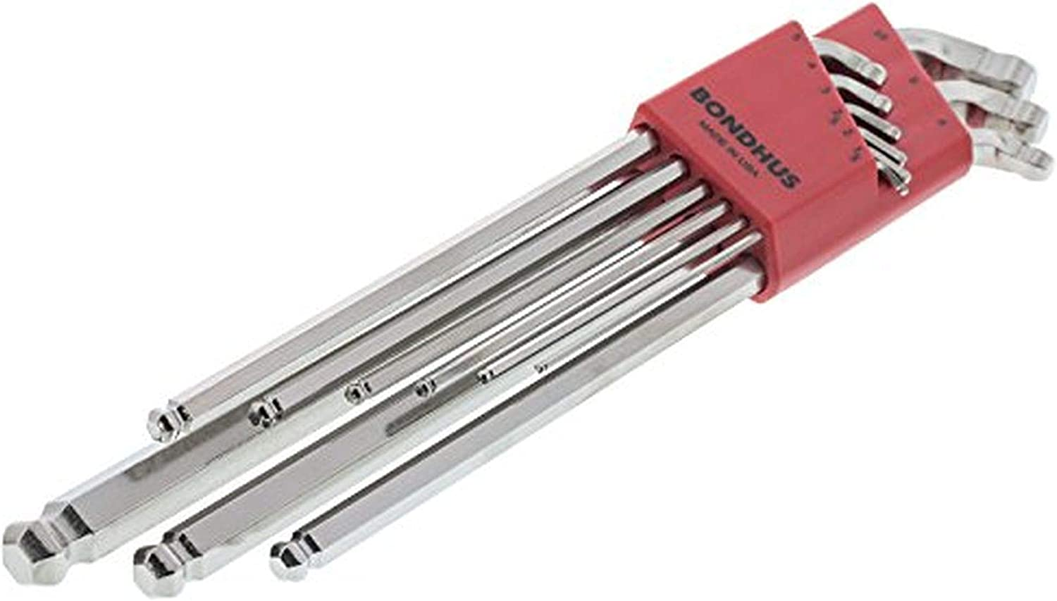 Bondhus 77099 Stubby Double Ball End L-Wrench Set with BriteGuard Finish and Extra Long Arm 9 Piece