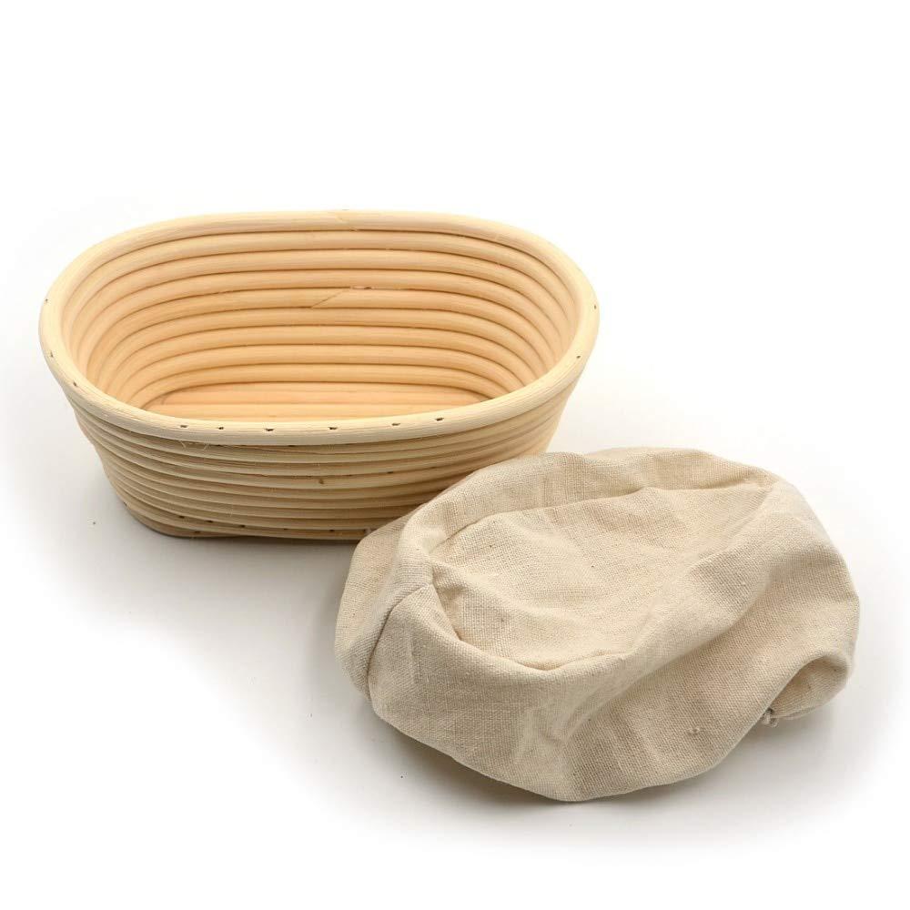 HOT- Baking & Pastry Tools - 1pc Oval 21X15x8cm Banneton Bortform Rattan Basket Bread Dough Proofing Handmade Multi Storage - by Tini - 1 PCs