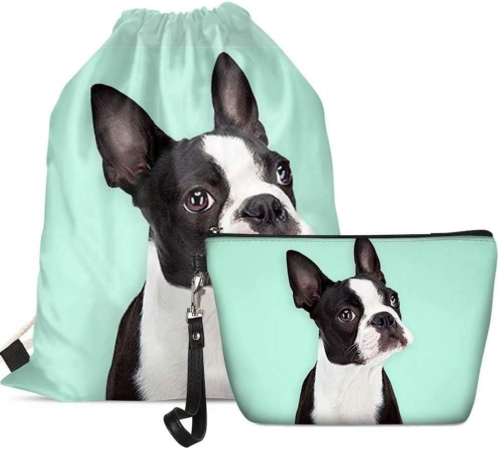 Drawstring Backpack Boston Terrier Dog Rucksack
