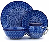 Polish Pottery 4-Piece Place Setting made by Ceramika Artystyczna (Blue Peacock Theme) + Certificate of Authenticity