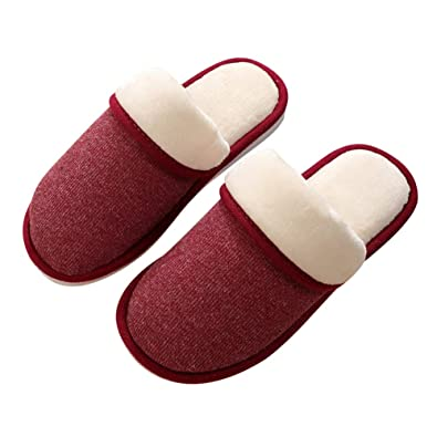 72eb9453bc376 LQZ Unisex Men Women Warm Winter Slippers Shoes for Lovers Couples (EU  40/41, Wine Red): Buy Online at Low Prices in India - Amazon.in