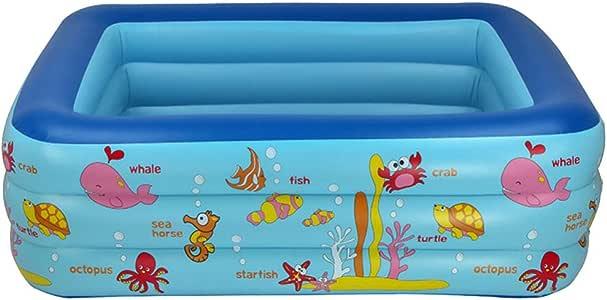 Piscina Inflable PVC 1 8 Metros Los Tres Anillos Rectangulares Niños Inflable Piscina Piscina Para Niños Natación Estanque De Pesca Verano Piscina De Bolas Océano 180 * 140 * 60CM,Blue-180*140*60: Amazon.es: Hogar