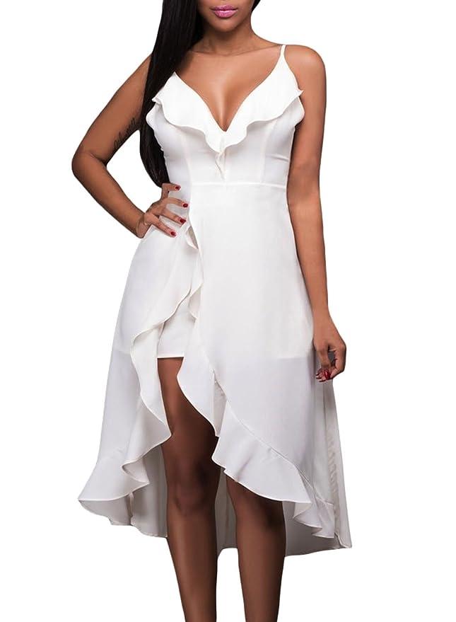 Azbro Mujer Vestido Romper Alto-bajo con Volantes, blanco L: Amazon.es: Ropa y accesorios