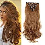 """S-noilite®17"""" Long Curly Wavy Light Brown Clip in on 8 Pieces Full Head Set Hair Extensions 8pcs Hairpiece Extension for Girl Lady Women"""