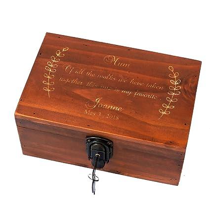 Awerise Personalized Wooden Keepsake Box W Lock Key Custom Jewelry Box Bridesmaid Box Mother Girlfriend Gift