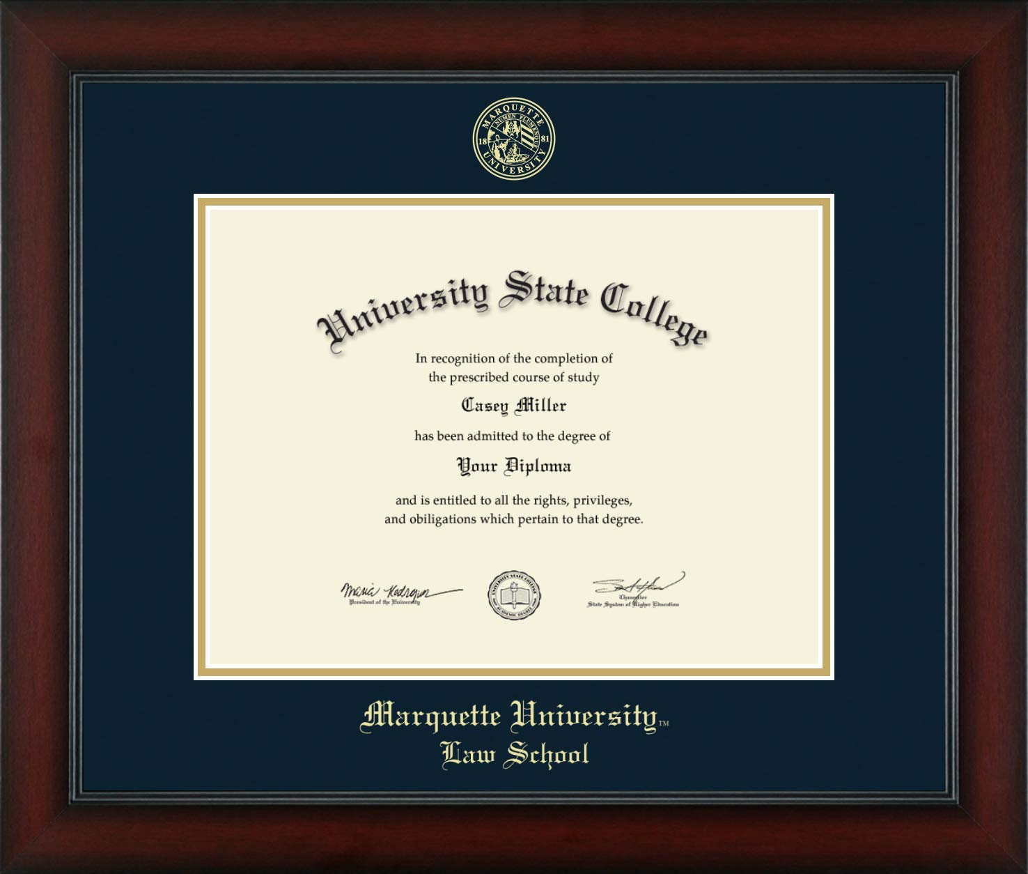Marquette University Law School - Officially Licensed - Gold Embossed Diploma Frame - Diploma Size 12'' x 9''