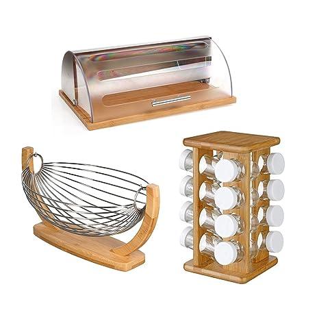 Utensilios de cocina de bambú, soporte para especias giratorio + cesta de fruta + caja