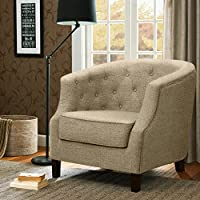 Madison Park Ansley Chesterfield Barrel Chair Cream See below