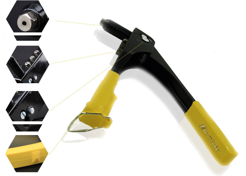 Riveters Gun,LineWinder Blind Rivets Pop Rivet Gun, Hand Repair Tools Riveter, Heavy Duty Riveting Tool With Rivet Heads and Wrench, Rivet-Nut Tool For Metal, Wooden and Plastic Yellow