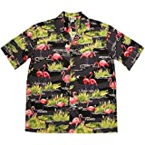 WHAT ON EARTH Men's Flamingo Gator Camp Shirt - Short Sleeve Button Down - Large