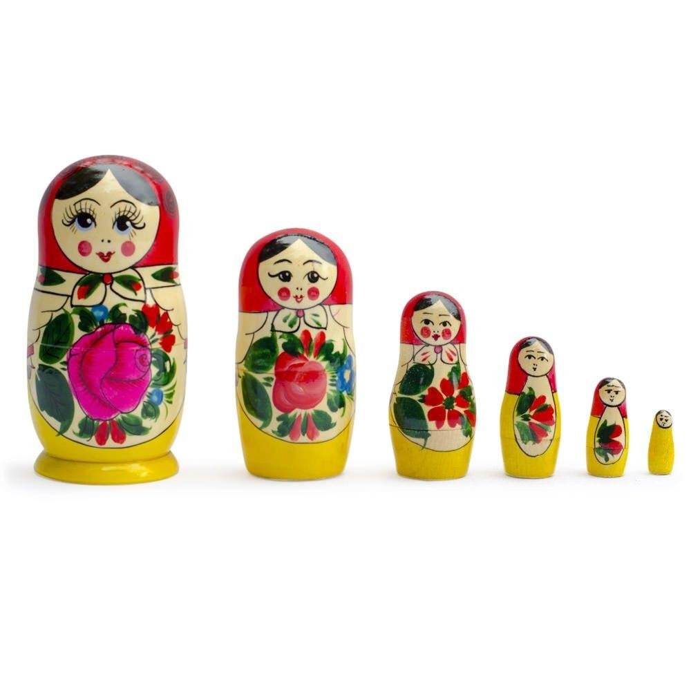 BestPysanky Set of 6 Traditional Semenov Matryoshka Wooden Russian Nesting Dolls 5.5 Inches