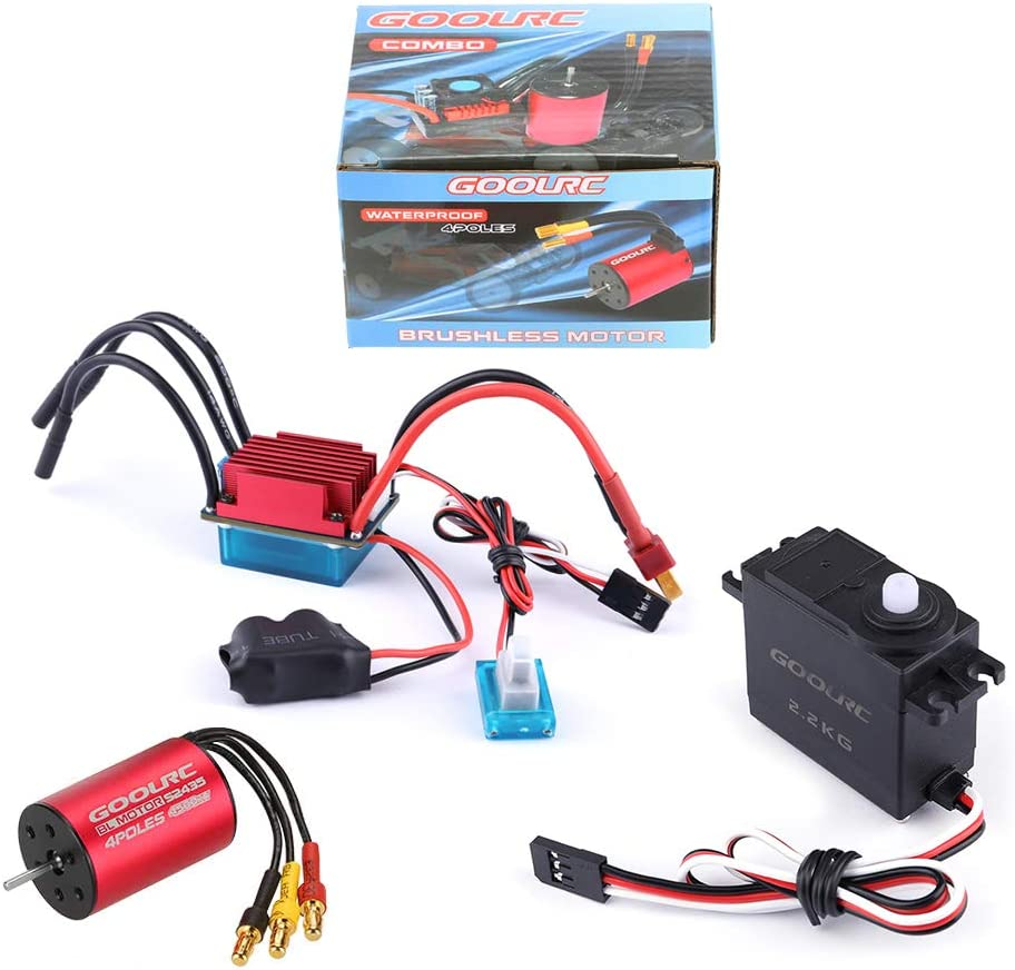 GoolRC S2435 4500KV Brushless Motor S-25A ESC with 2.2kg Metal Gear Servo Upgrade Brushless Combo Set for 1/16 1/18 RC Car Truck