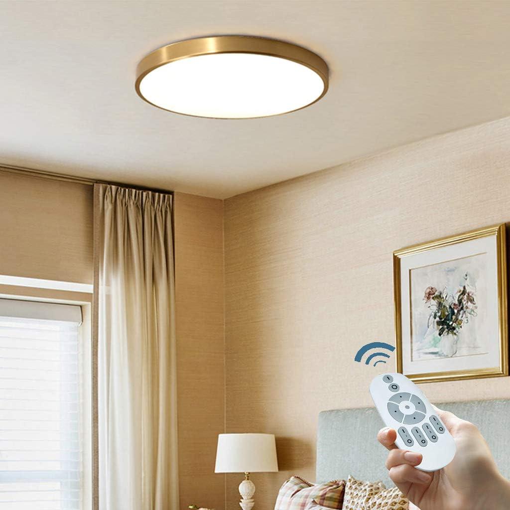 Led Deckenleuchte Ultra Dunne Lampe Runde Dimmbar Deckenlampe Messing Gold Schlafzimmer Decke Licht Moderne Lampe Kuchenleuchte Kreativ Wohnraumleuchte Dreifarbenraumlicht 30cmdimming Innenbeleuchtung Deckenleuchten
