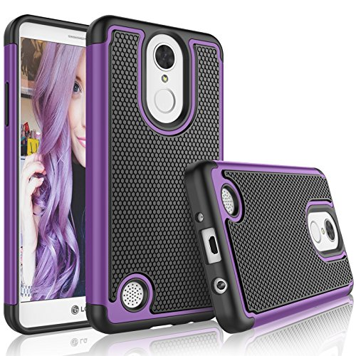Tekcoo LG Phoenix 3 Case, Tekcoo LG Fortune/LG LV1/Risio 2/K4 2017 Cute Case, [Tmajor] Shock Absorbing [Purple] Rubber Silicone Plastic Scratch Resistant Defender Bumper Rugged Hard Cases Cover