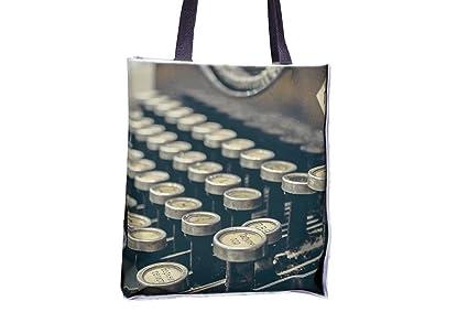 Máquina de escribir para escribir en auto, mecánica, retro impreso Totes, populares bolsitas