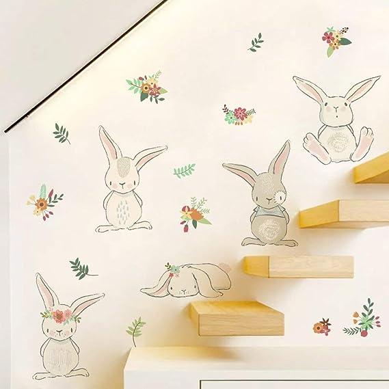Ecosway Dibujos Animados Bebé Conejo Adhesivos de Pared, Bricolaje Decoración Hogar Arte Escalera Pasillo Zócalo Aplique, Infantil Habitación Lindo Conejito Mural Pared: Amazon.es: Hogar