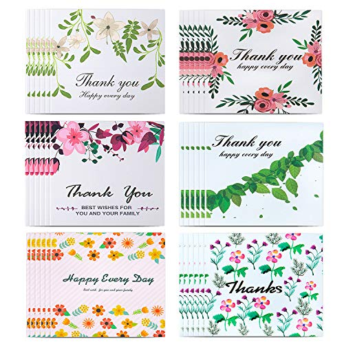 Thank You Cards,36 Floral Thank You Notes Cardstock Gift Cards Greeting card for your Wedding,Birthday,Baby Shower,Graduation,Blank Inside 4 x 6 -