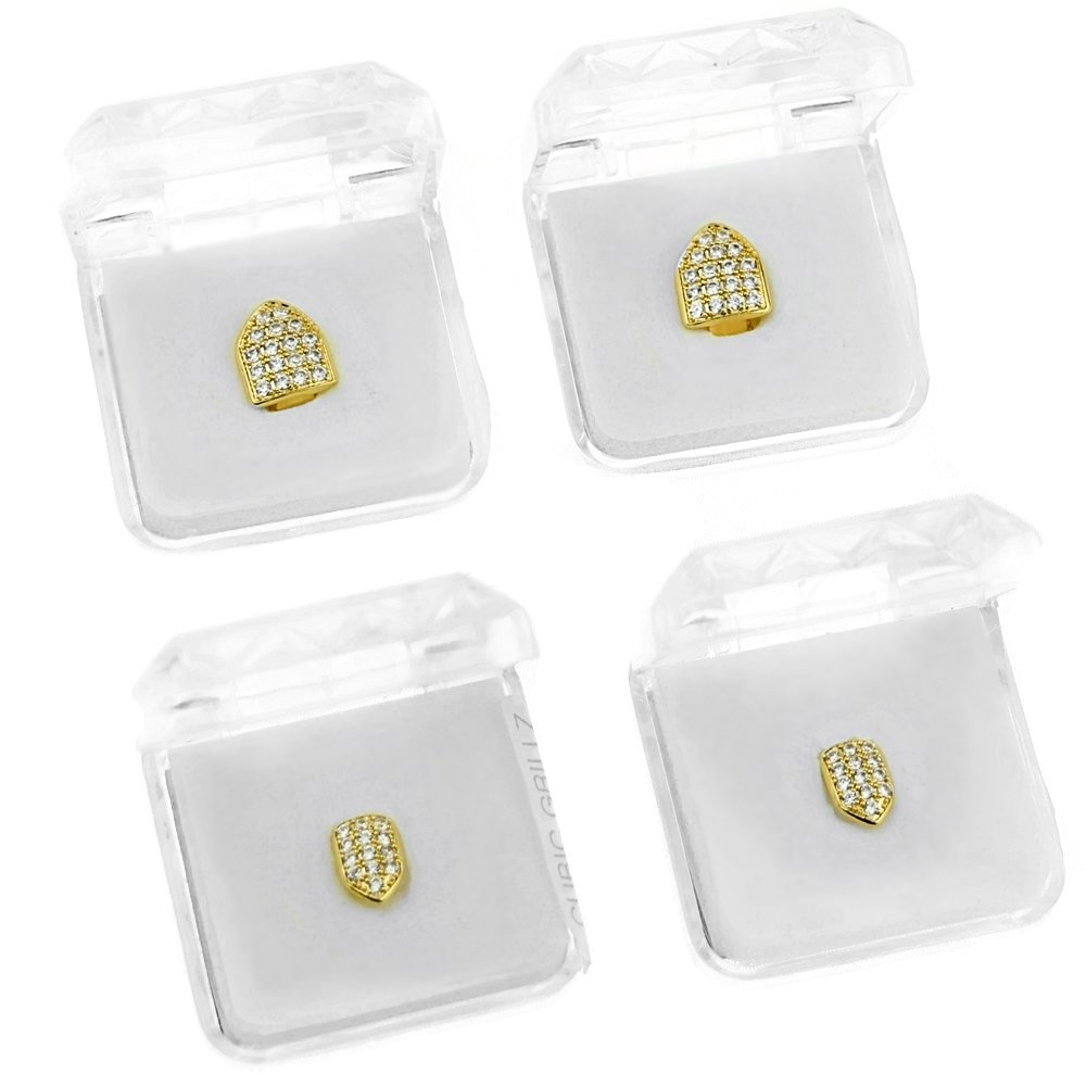 18K Gold Plated Single Cap Tooth Set CZ Cubic Zirconia 2 Top Teeth Plus Two Bottom Iced Canine Cap Grills by Best Grillz