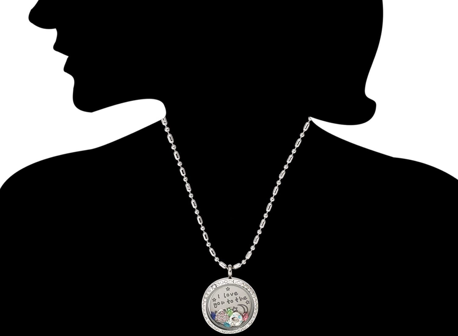 Matching Charms DR Memory Locket Pendant Necklace with Turnable and Movable Backplate with Inscription Colorful Birthstones