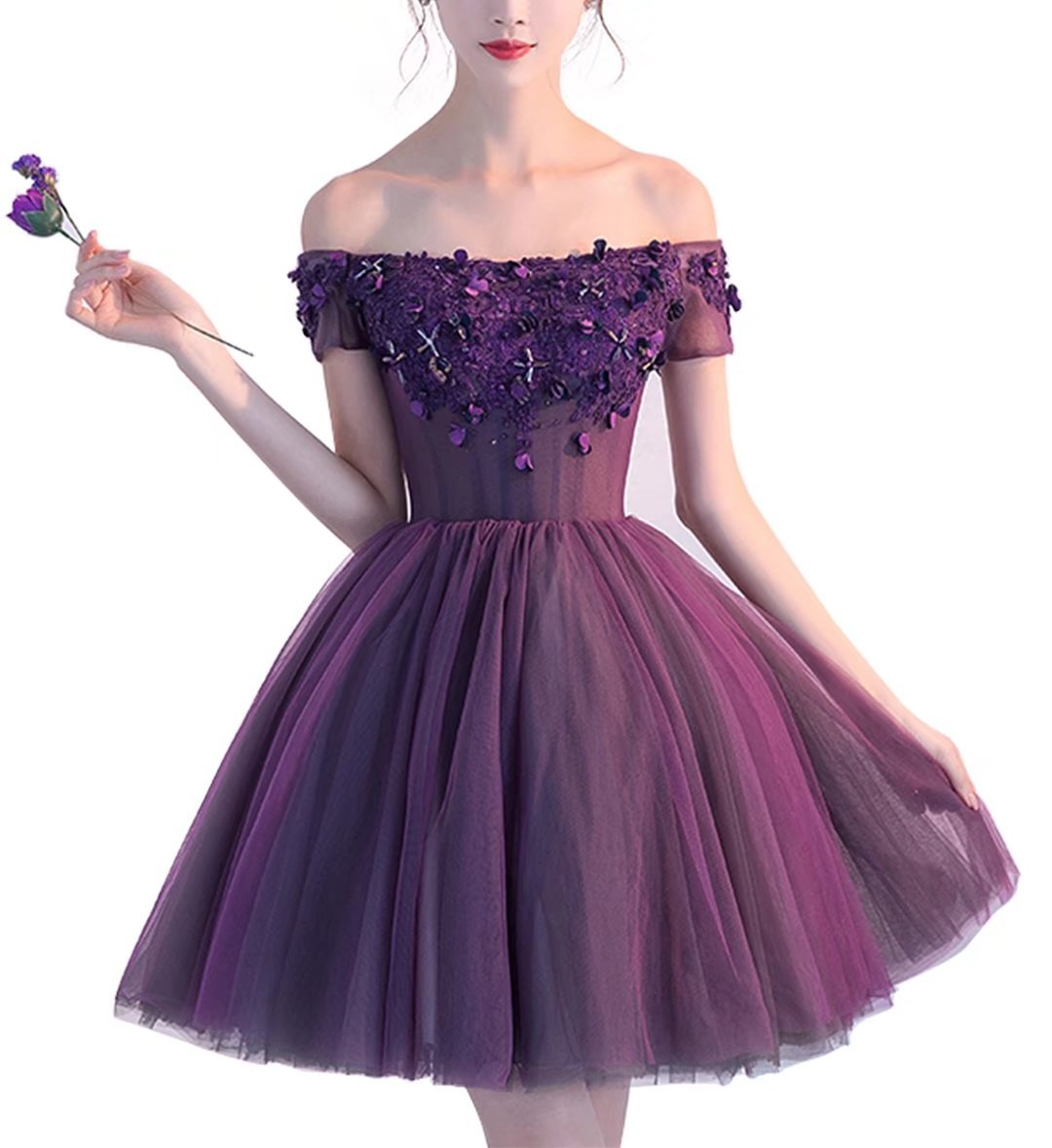 c75a24dc2f4 LanierWedding Short Homecoming Dresses Floral Off Shoulder Lace Up Prom  Party Dresses 2017 Grape Size 4