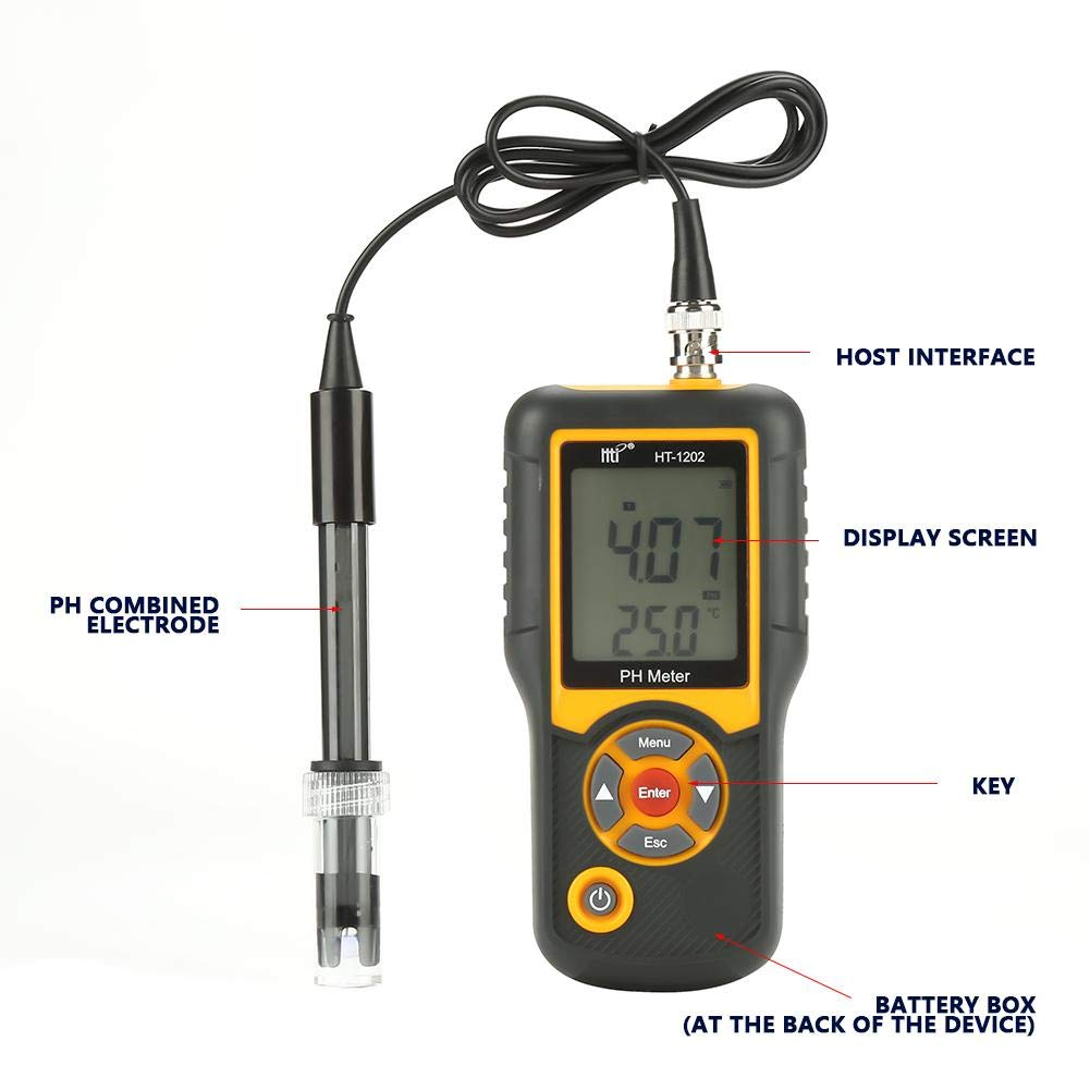 Akozon Digital PH Meter HT-1202 PH Test water 0.01 PH High Precision Digital Water Quality Tester PH mV Tester Temperature Meter with 0-14 PH Measurement Range for Household Drinking, Pool and Aquariu by Akozon (Image #4)