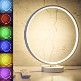 SUNY 7 Colors Dimmable Bedroom Nightstand Lamps, 6 Lighting Effect Modes LED Bedside Lamp Warm Light Modern Circle Table…