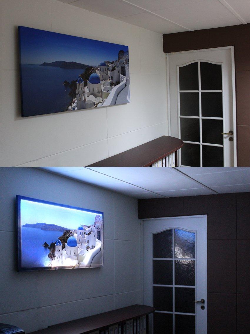 LED Bild - - - Bilder fertig gerahmt - Kunstdruck auf Wandbild - Leuchtendes LED Bild - LED Wandbild - Model 12 (Elephants) - 100x65 cm 20b62a
